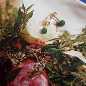 Jewelry - Jade studs in 14K Gold post